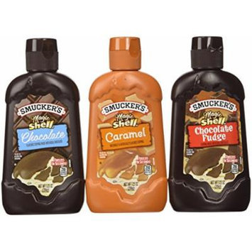 Smucker's Magic Shell Ice Cream Topping Variety Bundle, 7.25 oz bottle (Pack of 3) includes 1-Bottle Caramel Flavored Topping + 1-Bottle Chocolate Flavored Topping + 1-Bottle Chocolate Fudge Flavored Topping