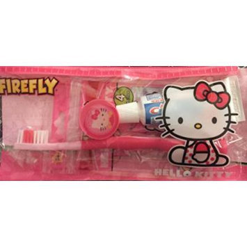 Hello Kitty Dental Travel Kit Complete: Toothbrush, Cover, Toothpaste, Flossers, Carry Case