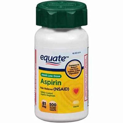 Equate Adult Low Dose Aspirin, 81mg, 500ct Enteric Coated Tablets, Compare to Bayer Low Dose