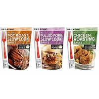 Red Fork Seasoning Sauce 3 Flavor Variety Bundle: (1) Red Fork Smoky Pulled Pork Seasoning Sauce With Fresh Garlic & Red Chili, (1) Red Fork Sunday Pot Roast Slow Cook Sauce With Porcini Mushrooms & Red Wine, and (1) Red Fork Rosemary Chicken Seasoning...