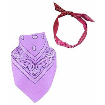Set Of 2-Lavender Paisley Bandanna and a *FREE* Hot Pink Paisley Wire Headband CoverYourHair®