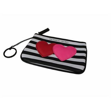 Victoria's Secret Makeup Bag Stripes Black & White Double Heart Cosmetic Bag