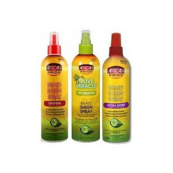 African Pride TRIO SET of Braid Sheen Spray (Olive Miracle, Original, and Extra Shine) Plus 3 Free of Apple EYE Pencil Color: green life
