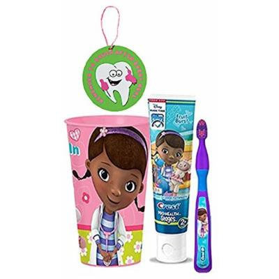 Doc McStuffins Inspired 3pc Bright Smile Oral Hygiene Set! (1) Soft Manual Toothbrush, Fruit Burst Toothpaste & Mouthwash Rinse Cup! Plus Bonus