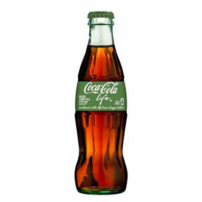 Coke Life Reduced Calorie Coca Cola with Stevia 8 Oz Glass Bottles - Case of 12