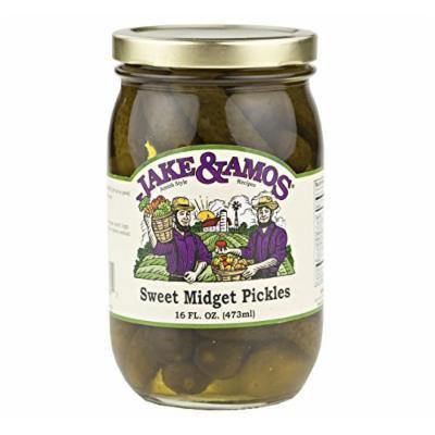 Jake & Amos Sweet Midget Pickles, 16 Oz. Jar (Pack of 2)