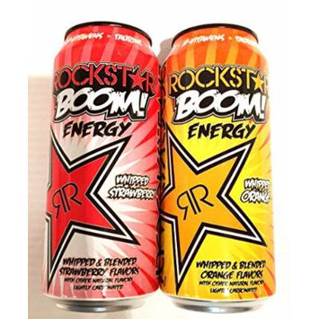 12 Pack - Rockstar Boom Energy - Whipped Orange and Whipped Strawberry - 16oz + Energy Drink Outlet Sticker