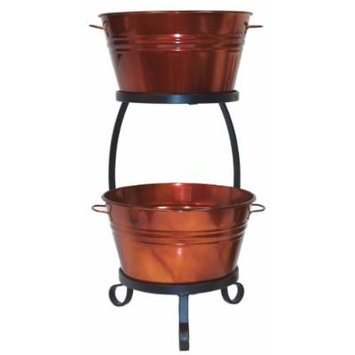 HIT 8020E GC Galvanized Heavy Gauge Steel Beverage Tub with Iron Stand, 13.5 by 30-Inch, Glazed Caramel