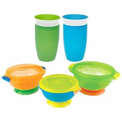 Munchkin Miracle 360 Sippy Cup, Green/Blue, 10 Ounce, 2 Count with Stay Put Suction Bowls