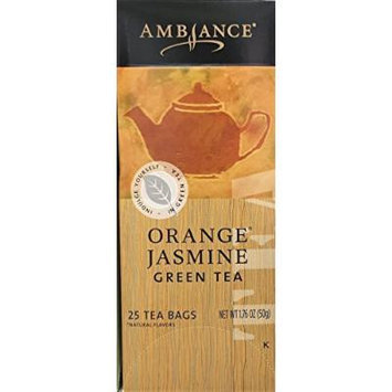 1.76oz Ambiance Orange Jasmine Green Tea, 25 Tea Bags (One Box Per Order)