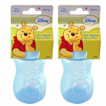 Disney Soft Spout Pooh 10oz Sippy Cup Bottles-2 Pack (Blue+Blue)