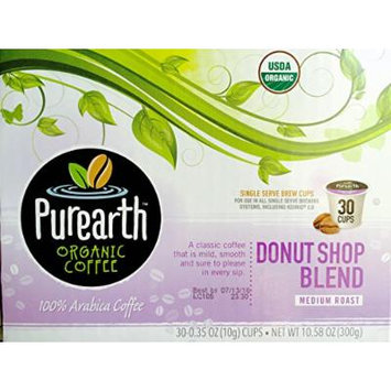 Purearth Organic Coffee Donut Shop Blend Keurig K-Cups, 30 Count