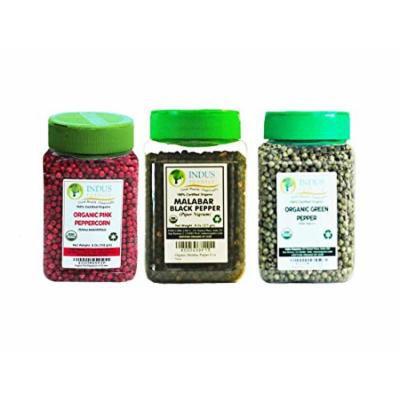 Indus Organics Black Peppercorns, Green Peppercorn, Pink Peppercorn Combo Pack, 3 Jars, Premium Grade, High Purity, Freshly Packed ...
