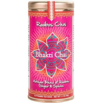 Bhakti Chai Rooibos Chai, Two Canisters, Each with 14 Pyramid Bags