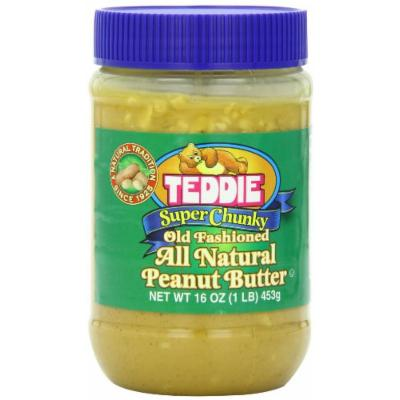 Teddie All Natural Peanut Butter, Super Chunky, 16-Ounce Jar (Pack of 4)