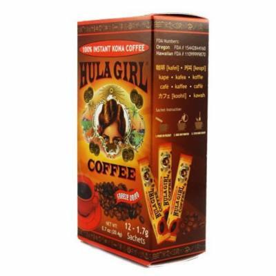 100% Hula Girl Instant Kona Coffee Box of 12 Sachets (1 Box of 12) 1.7 grams each sachet