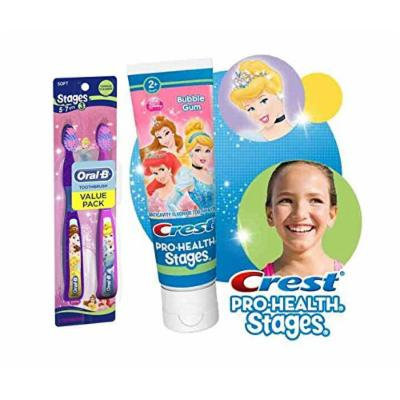Ready...Set...Brush! Disney Princess Manual Kid's Toothbrush Twin Pack Plus Bonus Crest Pro-Health Stages Disney Princess Kid's Toothpaste 4.2 Oz!