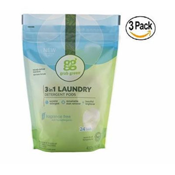 Grab Green Natural 3-in-1 Laundry Detergent Pods, Fragrance Free, 24 Loads, 3 pack, 72 Pods Total!