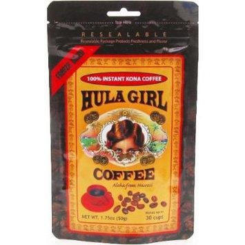 Hula Girl 100% Kona Coffee Freeze Dried Instant 1.75 oz Bag (Pack of 12)