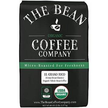 The Bean Coffee Company, El Grano Ricco (Costa Rican Classic) Organic Whole Bean Coffee, 5-Pound Bags