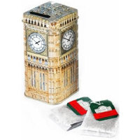 Tin Big Ben Money Box Tea Caddy with 20 Teabags