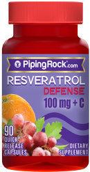 Piping Rock Resveratrol 100mg plus C 90 Capsules