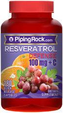 Piping Rock Resveratrol 100mg plus C 180 Capsules