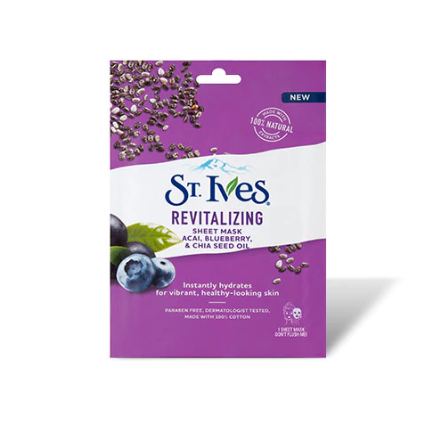 St. Ives Revitalizing Acai, Blueberry & Chia Seed Oil Sheet Mask