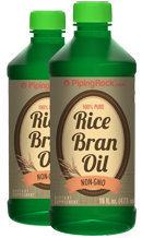 Piping Rock Rice Bran Oil 2 Bottles x 16 fl oz (473 mL) Liquid