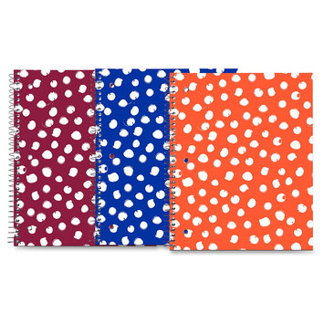 Roaring Spring Modern Jen Dots Design Notebook - 80 Sheets - Printed - Spiral Bound - College Ruled 8.50 X 10.50 - White Paper - Lime Green, Ocean Blue, Red Cover Dotted - Board Cover - (roa-10260)