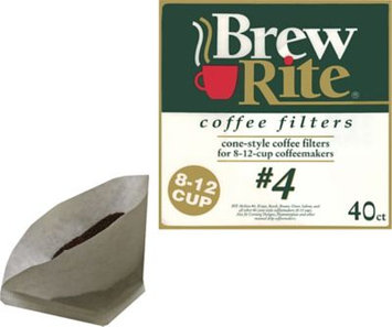 Brew Rite 8-12 Cup #4 Cone Coffee Filters, 40/Pack