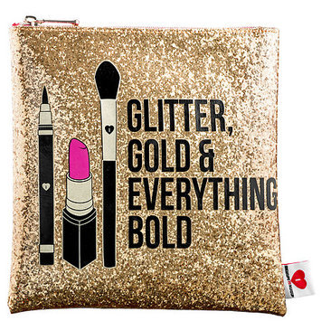 SEPHORA COLLECTION Glitter, Gold, & Everything Bold Clutch 8.75W x 8.25H