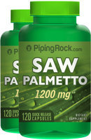 Piping Rock Saw Palmetto 1200mg 2 Bottles x 120 Capsules