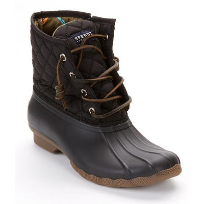 Sperry Top-Sider 8M Black Saltwater Duck Quilted Booties