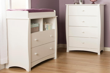 Southshore Beehive Changing Table with Removable Changing Station and 4-Drawer Chest, Pure White