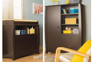 Southshore Beehive Changing Table with Removable Changing Station and Armoire with Drawers, Espresso