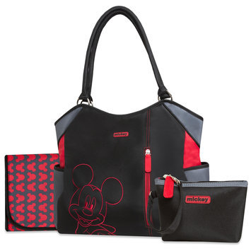 Disney Baby Mickey Mouse Diaper Bag, Changing Pad & Pouch - Rose Art