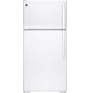 GE GTE15CTHLWW 14.6 cu. ft. Top-Freezer Refrigerator with Clear Drawers, Adjustable Wire Shelves, Gallon Door Storage, Upfront Temperature Controls and Energy Star Qualified: White, Left Door Swing