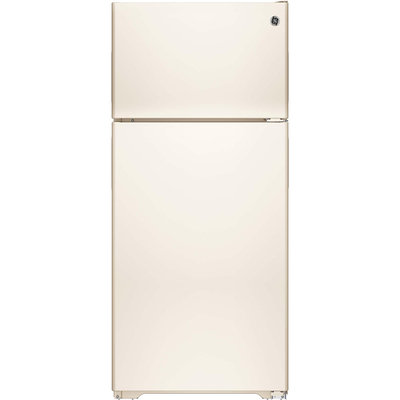 GE GPE16DTHCC 15.5 cu. ft. Top-Freezer Refrigerator with Adjustable Humidity Drawers, Adjustable Wire-Z Shelf, Gallon Door Storage, Recessed Handles, Upfront Temperature Controls and Energy Star Qualified: Bisque