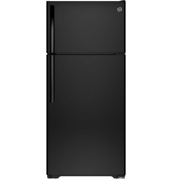 GE GTE16DTHBB 15.5 cu. ft. Top-Freezer Refrigerator with Adjustable Humidity Drawers, Adjustable Wire-Z Shelf, Gallon Door Storage, Upfront Temperature Controls and Energy Star Qualified: Black