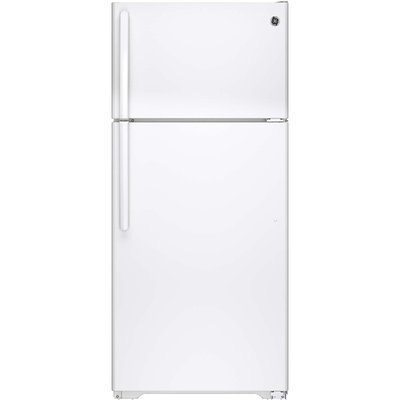 GE GTE16DTHWW 15.5 cu. ft. Top-Freezer Refrigerator with Adjustable Humidity Drawers, Adjustable Wire-Z Shelf, Gallon Door Storage, Upfront Temperature Controls and Energy Star Qualified: White