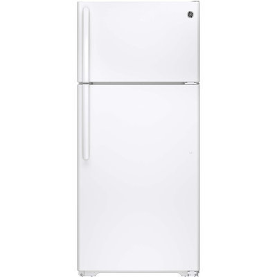GE GTS16GTHWW 15.5 cu. ft. Top-Freezer Refrigerator with Adjustable Humidity Drawers, Adjustable Spill-Proof Glass Shelves, Gallon Door Storage, Snack Drawer and Upfront Temperature Controls: White