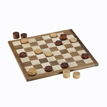 Wood Expressions French Classic Dark Brown & Natural Piece Checkers Set