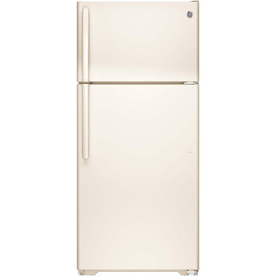 GE GTE16DTHCC 15.5 cu. ft. Top-Freezer Refrigerator with Adjustable Humidity Drawers, Adjustable Wire-Z Shelf, Gallon Door Storage, Upfront Temperature Controls and Energy Star Qualified: Bisque