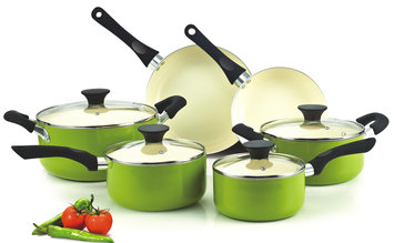 Neway Int Housewares Cook N Home Green Nonstick Ceramic 10-piece Cookware Set