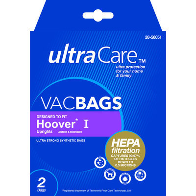 UltraCare Vacuum Bags for Hoover type I Upright HEPA 2 pk - THE EUREKA COMPANY