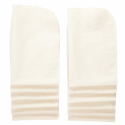 NuAngel All-Natural Single Layer Cotton Burp Cloths, White, 12ct