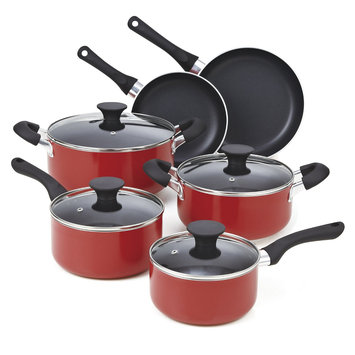 Cook N Home 10-piece Red Nonstick Cookware Set
