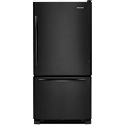 KitchenAid Architect Series II KBWS19KCBL 18.5 Cu. Ft. Freestanding Bottom Freezer Refrigerator with Reversible Door Swing, Pull-Out Freezer Baskets, Adjustable SpillClean Glass Shelves and LED Lighting: Black