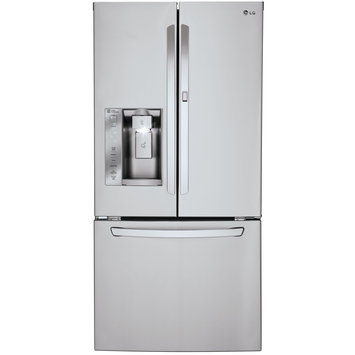 Lg - 24.0 Cu. Ft. French Door Smart Refrigerator With Thru-the-door Ice And Water - Stainless-steel